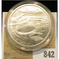 """2017 """"Welcome to Silverbug Island 1 Troy oz..999 Fine Silver"""" Obv. depicts a Pirate Ship caught alon"""
