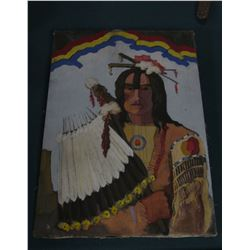 "20"" x 28"" Original Oil Painting of an Ioway Indian with feather fan."