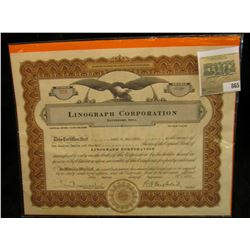 "Sept. 2nd, 1937 Stock Certificate Number 508 for 112 1/2 Shares ""Linograph Corporation Davenport, Io"