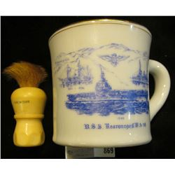 "1946 ""U.S.S. Kearsarge, C.V. A-33 souvenir Shaving Mug with a ""Made Rite U.S.A. Sterilized Set in Ru"