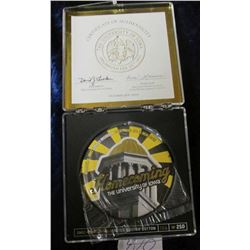 """Homecoming 2003 Old Capitol Limited Edition Button #186 of 250"" in original box of issue. Story on"