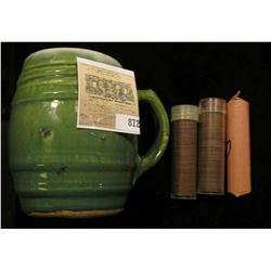 "Green Stoneware Mug, age checkered glazing. ""# 16""; roll of mixed 1926 P & D Cents; roll of mixed ""S"
