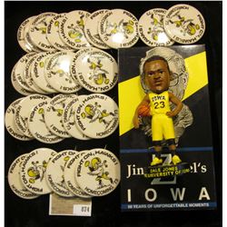 """Jim Zabel's Iowa"" VHS tape; large group of 1973 Homecoming Pin-backs; & ""Dale Jones The University"