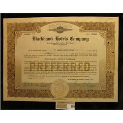 "Number 83 ""Blackhawk Hotels Co.""Preferred Stock Certificate for 2 shares, notary seal central bottom"