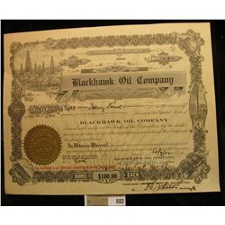 "10/09/22 Two Shares of ""Blackhawk Oil Company"", Davenport, Iowa. Vignette of Oil derrick upper left."