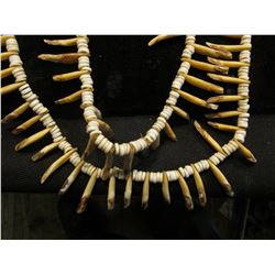"64"" Beeded Necklace with Canine Teeth. Doc has it labeled ""Indian   purchased from Illinois Bank. It"
