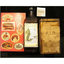 "9"" x 2"" x 2 3/4"" Amber Bottle with Fish scale texture and Cod Fish Impression, Label ""Emulsion"" amon"