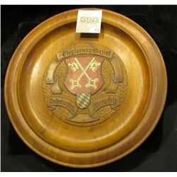 "12"" diameter ""Regiernngbezirf Neiderbayern Obcryfal"" engraved Wooden Plate with Coat-of-Arms exhibit"