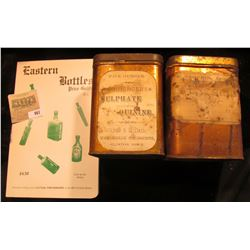 """Pair of Five Ounce Pharmaceutical Tins """"Sulphate of Quinine"""" & """"Lady Slipper"""", one labeled from Clin"""