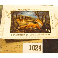 1024 _ 1996 Iowa Habitat Stamp depicting a Red Fox, signed by the hunter.