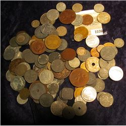 1036 _ Zip-lock Bag of Foreign Coins, includes a 1700s era Russian Copper, a 1944 Netherlands Silver