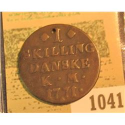 "1041 _ ""BB Carry"" hand engraved Love token with small hole on a Denmark One Skilling dated K.M. 1771"