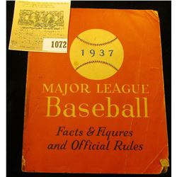 """1072 _ """"1937 Major League Baseball Facts & Figures and Official Rules"""", Paperback book, 242 pgs."""