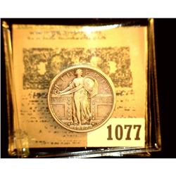 1077 _ 1917 D Type One Standing Liberty Quarter, EF.