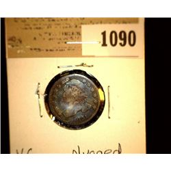 1090 _ 1821 Capped Bust Dime, VG, plugged.