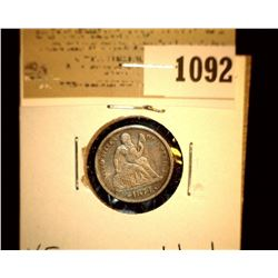 1092 _ 1873 With Arrows Seated Liberty Dime, VF, scratched.