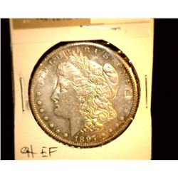 1108 _ 1897 S Morgan Silver Dollar, Choice EF.
