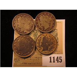1145 _ 1899, 1903, 1905, & 1912 P Liberty Nickels, a little Gold gilt remains on the 1912.