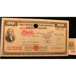 1185 _ January 1945 $50 United States Savings Bond Series E, cancelled at Sentinel, Okla. Serial Num