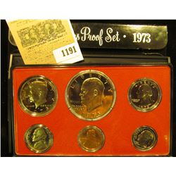 1191 _ 1973 S U.S. Proof Set, Original as issued. A nice attractive set with all coins exhibiting Ca