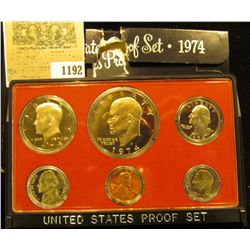 1192 _ 1974 S U.S. Proof Set, Original as issued. A nice attractive set with all coins exhibiting Ca