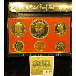 1193 _ 1976 S U.S. Proof Set, Original as issued. A nice attractive set with all coins exhibiting Ca