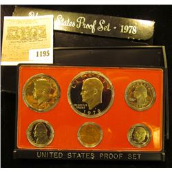 1195 _ 1978 S U.S. Proof Set, Original as issued. A nice attractive set with all coins exhibiting Ca