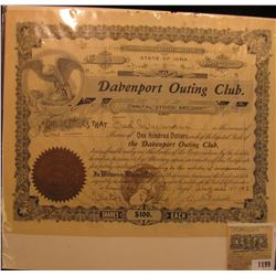 "1199 _ No. 58 One Share ""Davenport Outing Club"", 18th August, 1902. Worth $100 at that time, Gold no"
