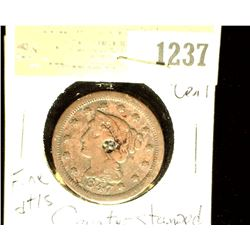 1237 _ 1847 U.S. Large Cent, Fine details, Counterstamped.