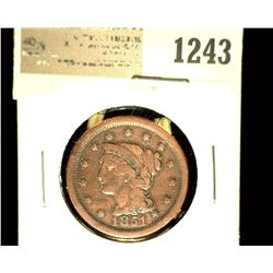 1243 _ 1851 U.S. Large Cent, Fine, Cleaned.