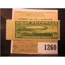1260 _ USA (Scott # C13) 1930 ZEPPELIN 65¢ GREEN (JUMBO) Extremely fine with excellent margins and l