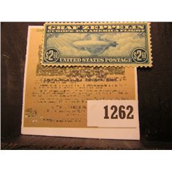 1262 _ USA 1930 era $2.60 Graf Zeppelin stamp, Blue; (SCOTT # C-15), light hinge, mint uncancelled.