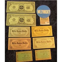 1266 _ Set of Alaska food Stamp Money, pair of Merchant Bridge Tickets from Muscatine crossing the M