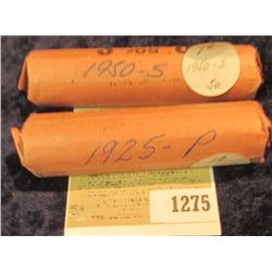1275 _ 1925 P & 50 S Solid Date Rolls of Lincoln Cents. Circulated. (2 rolls).
