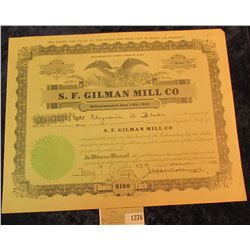 "1276 _ No. 43 One Share ""S.F. Gilman Mill Co."" Stock Certificate dated 27th December 1923., central"