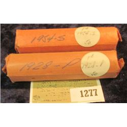 1277 _ 1928 P & 54 S Solid Date Rolls of Lincoln Cents. Circulated. (2 rolls).
