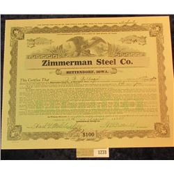 "1278 _ No. 246 Five & 553/1000 Shares of ""Zimmerman Steel Co."" Preferred Stock, central vignette of"