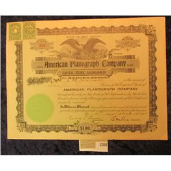 "1284 _ 1905 dated stock certificate for 10 Shares of ""American Planograph Company"", eagle vignette i"