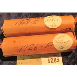 1285 _ 1926 P & 48 S Solid Date Rolls of Lincoln Cents. Circulated. (2 rolls).