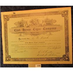 "1286 _ 1925 dated stock certificate for 4 Shares of ""Club House Company, Davenport, Iowa"", mansion v"