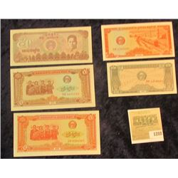 1288 _ (5) different Crisp Uncirculated Bank Notes, possibly from Laos, (I couldn't identify without