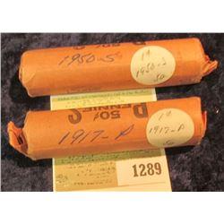 1289 _ 1917 P & 50 S Solid Date Rolls of Lincoln Cents. Circulated. (2 rolls).