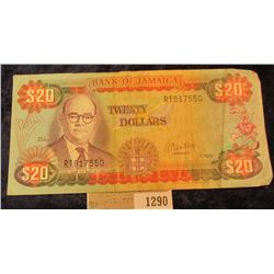 1290 _ 1.10.79 $20 Bank of Jamaica Bank note, VF.