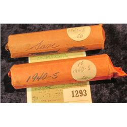 1293 _ 1940 S & 41 S Solid Date Rolls of Lincoln Cents. Circulated. (2 rolls).