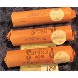 1299 _ 1944 S, 53 S, & 55 P Solid Date Rolls of Lincoln Cents. Circulated. (3 rolls).