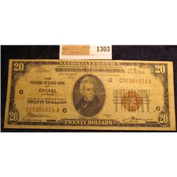 "1303 _ Series 1929 $20 National Currency ""The Federal Reserve Bank of Chicago Illinois"", serial numb"