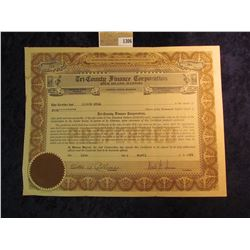 "1306 _ 1935 dated stock certificate for 5 Shares of ""Tri-County Finance Corporation, Rock Island, Il"