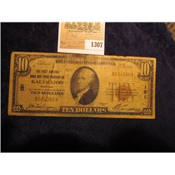 "1307 _ Series 1929 $10 National Currency ""The First National Bank and Trust Company of Kalamazoo, Mi"