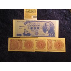 "1308 _ ""Eastco RCA 100 Yen"" Specimen Note; and three consecutive serial number Five Sen Banknotes fr"
