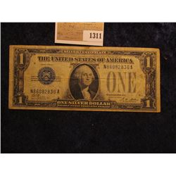 """1311 _ Series 1928A One Dollar Silver Certificate, """"Funny Back"""", Fine."""